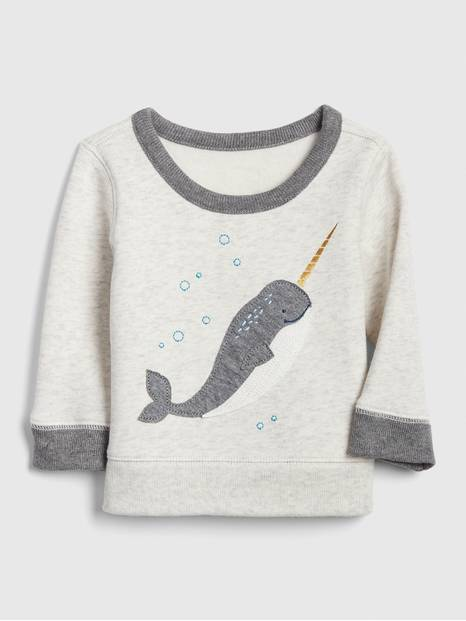 Embroidered Applique Sweatshirt in Fleece