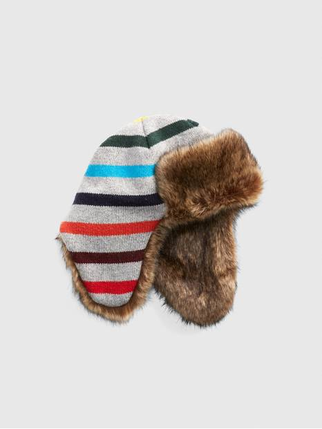 Kids Crazy Stripe Trapper Hat