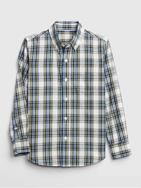 Plaid Long Sleeve Shirt in Poplin