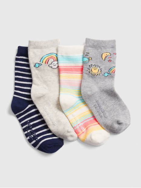 Toddler Rainbow Crew Socks (4-Pack)