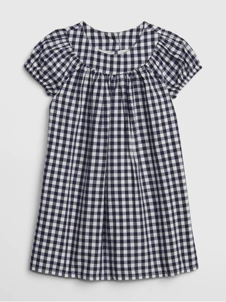 Toddler Gingham Puff-Sleeve Dress