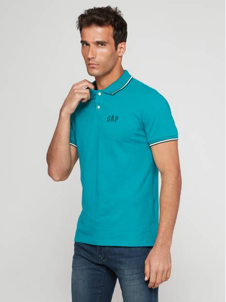 Stripe-Trim Embroidered Logo Pique Polo Shirt