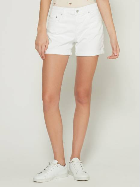 "Mid Rise 5"" Denim Shorts with Rolled Hem"