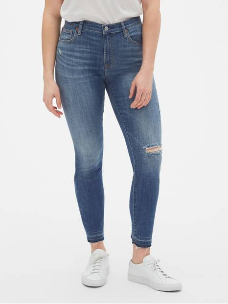 True Skinny Ankle Jeans with Distressed Detail