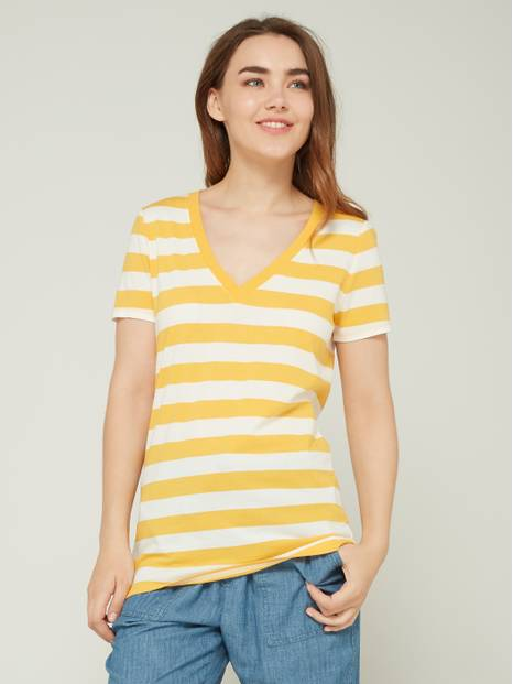 V-Neckline Striped Short Sleeve T-Shirt