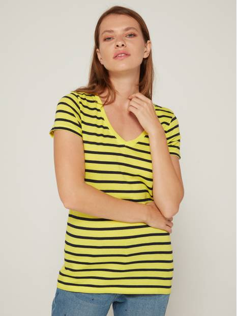 Favorite V-Neckline Striped Short Sleeve T-Shirt