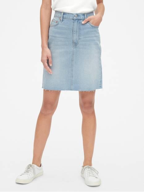 High Rise Denim Skirt with Raw Hem