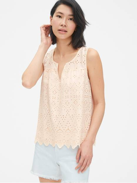 Eyelet Embroidered Split-Neck Tank Top