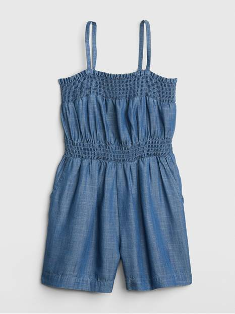 Kids Smocked Denim Romper