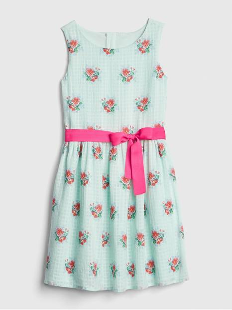 Kids Floral Bow Fit And Flare Dress