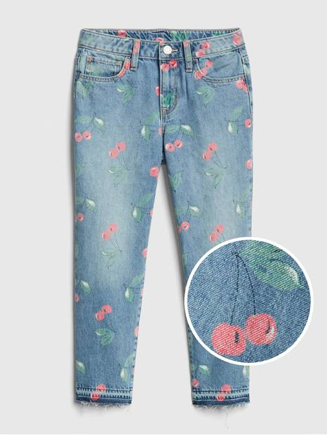 Kids Cherry Raw-Hem Girlfriend Jeans