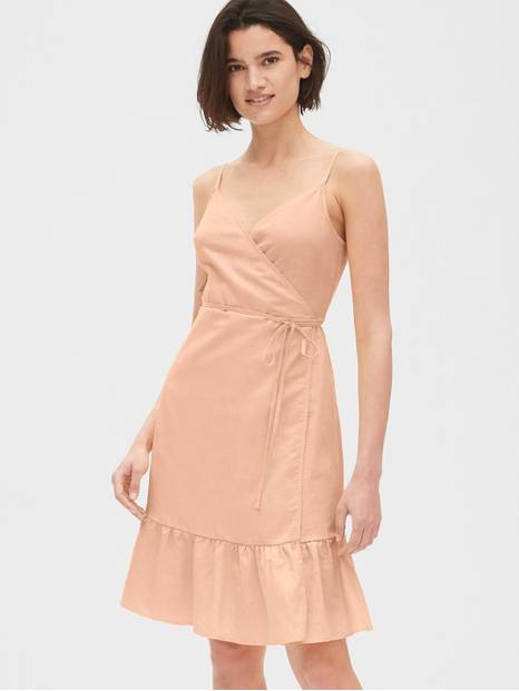Ruffle Cami Wrap Dress in Linen Cotton