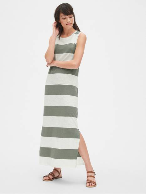 Soft Slub Stripe Maxi Dress