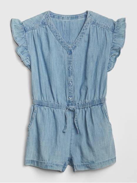 Toddler Denim Flutter Romper