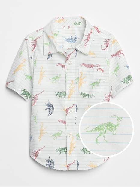Toddler Shark Print Short Sleeve Shirt