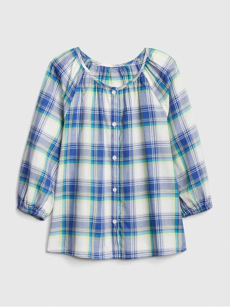 Kids Plaid Button-Front Top