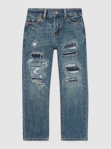 Kids Straight-Fit Destroyed Denims