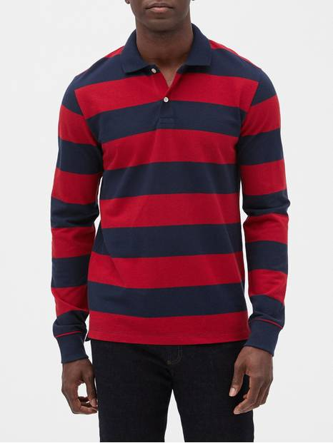 Stripe Long Sleeve Pique Polo