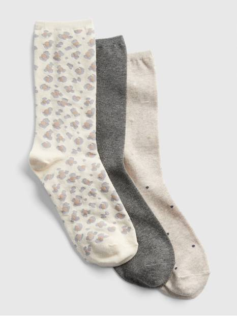 Pattern Crew Socks (3-Pack)