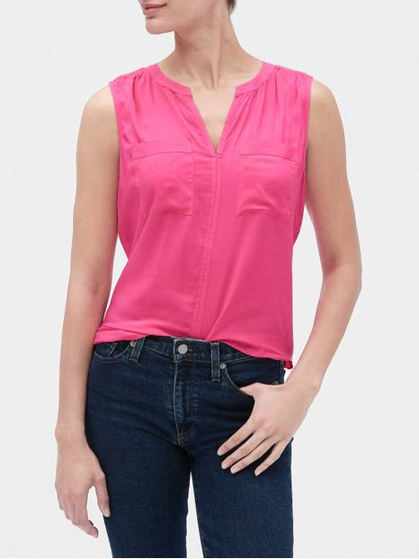 Sleeveless Split-Neck Top