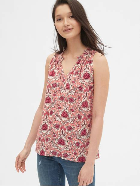 Print Ruffle Split-Neck Top