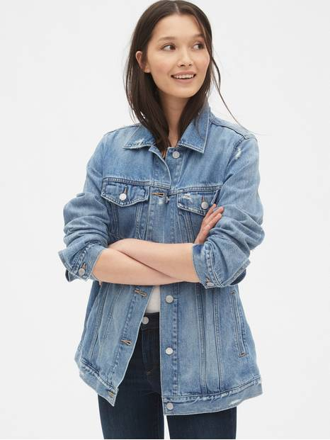 Distressed Oversized Icon Denim Jacket