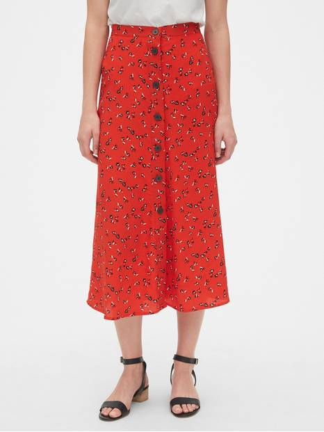 Print Button-Front Midi Skirt