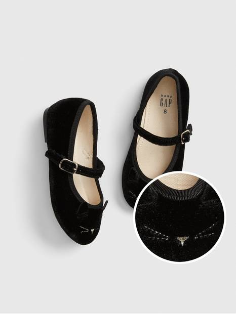 Toddler Velvet Cat Ballet Flats