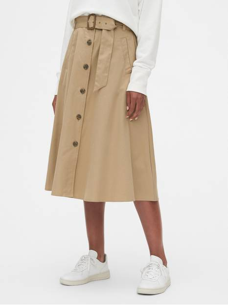 Tie-Belt Button-Front Midi Skirt in Chino