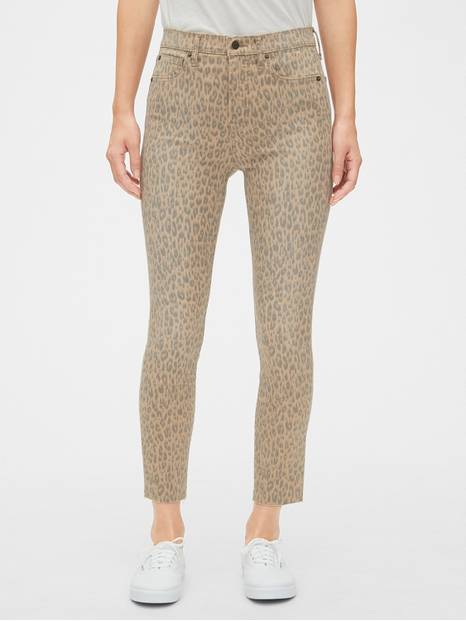 High Rise Leopard Print True Skinny Ankle Jeans with Secret Smoothing Pockets