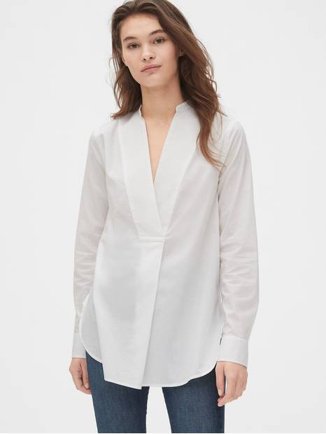 Split-Neck Popover Tunic Shirt