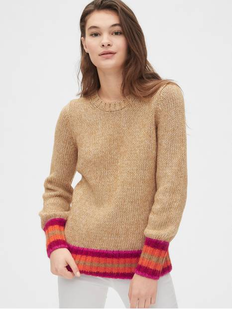 Stripe-Cuff Crewneck Sweater