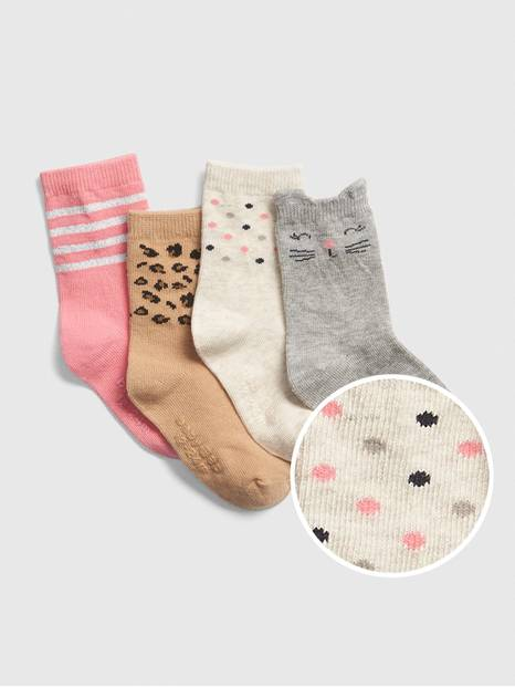 Toddler Cat Crew Socks (4-Pack)