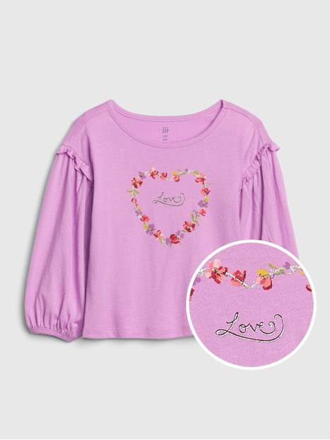 Toddler Ruffle-Sleeve Graphic T-Shirt