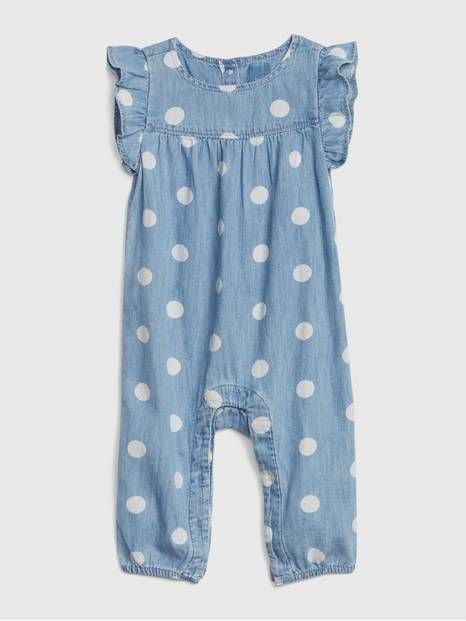 Baby Ruffle Dot Denim One-Piece