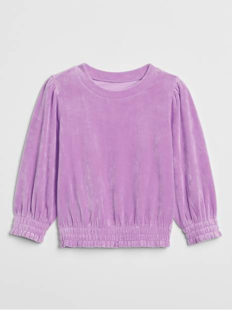 Toddler Velour Volume-Sleeve Top