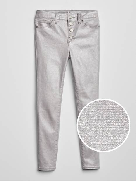 Kids High Rise Foil Jeggings with Fantastiflex