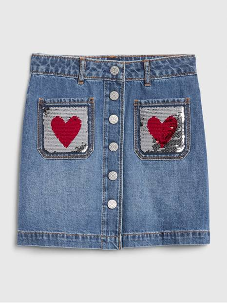 Kids Flippy Sequin Denim Skirt