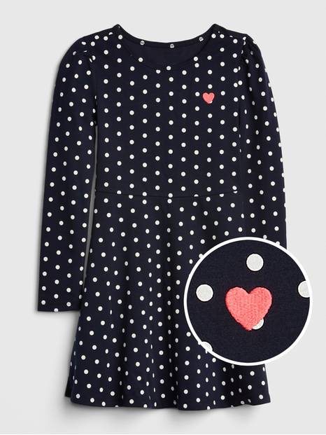 Kids Dot Heart Fit and Flare Dress