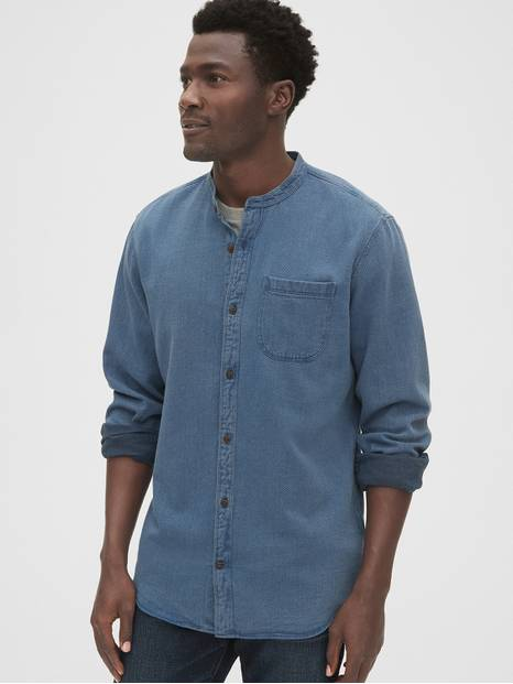 Textured Indigo Band Collar Shirt