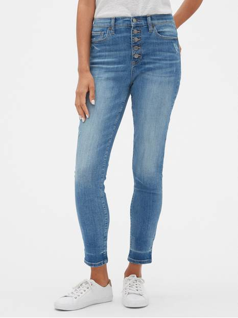 High Rise Button-Fly Legging Jeans