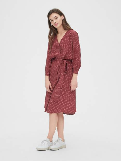 V-Neck Midi Shirtdress