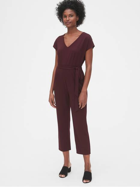 V-Neck Jumpsuit in Ponte