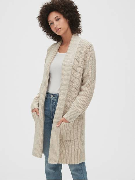 Ribbed Coat Cardigan Sweater