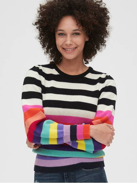 Wool-Blend Crazy Stripe Puff Sleeve Sweater