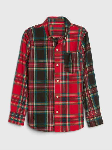 Kids Poplin Plaid Shirt