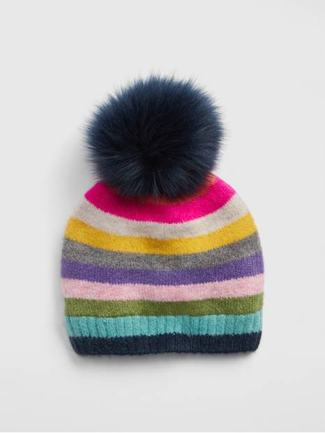 Kids Crazy Stripe Pom Beanie