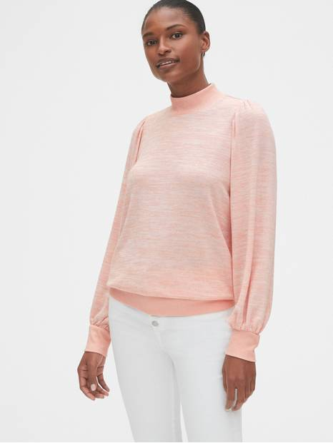 Softspun Mockneck Puff-Sleeve Top