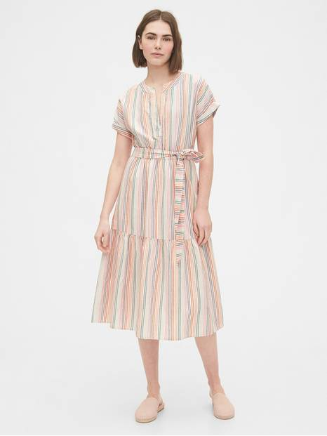 Linen-Cotton Ruffle Midi Dress