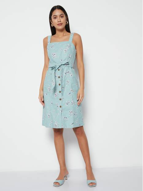 Floral Tie-Belt Paneled Apron Dress